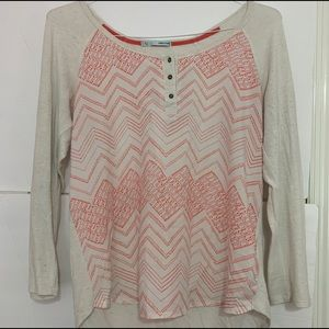 White and pink chevron top